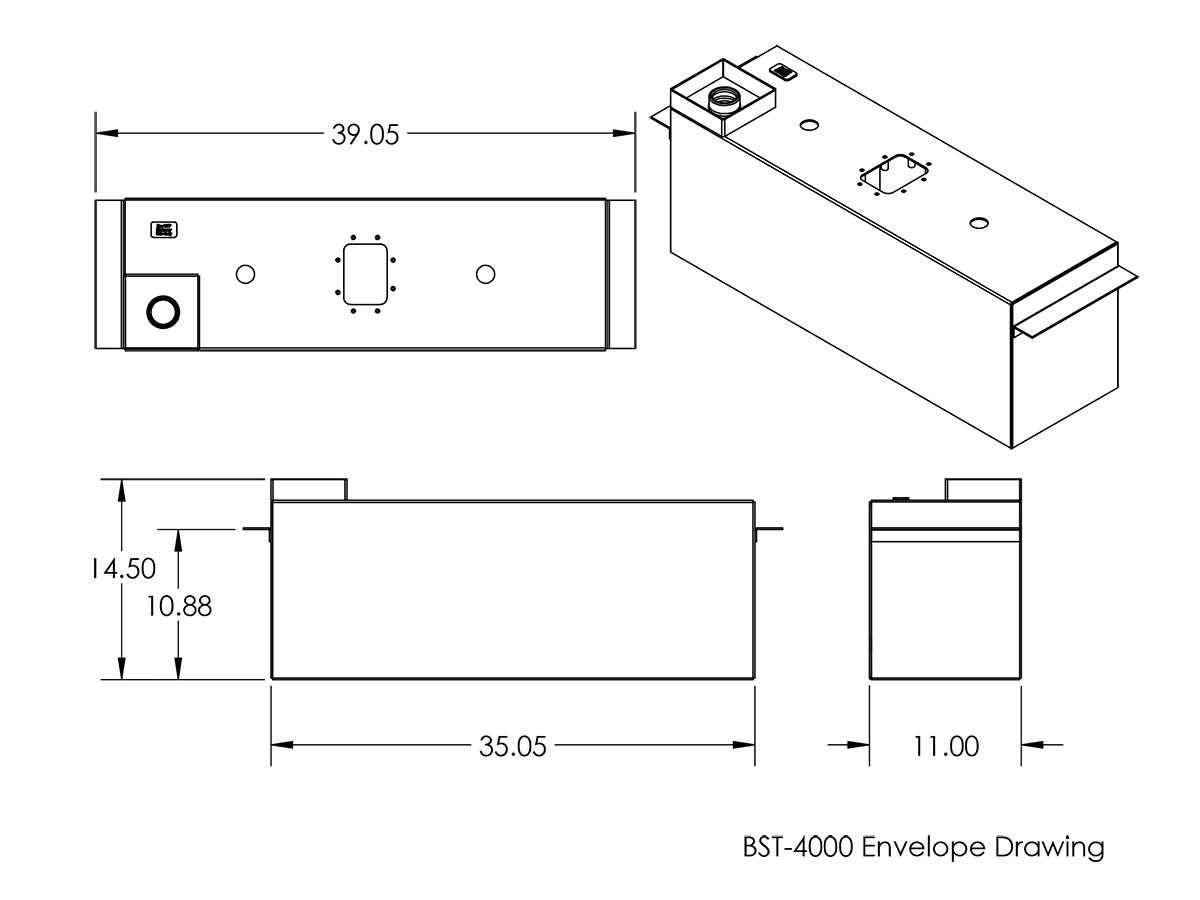 Dimensions of the BST-4000 tank and mounting flange