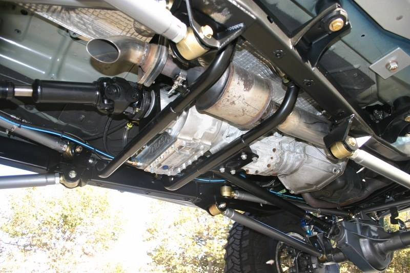 Univ cross member kits were used to hold the transmission and the ASR-390 Atlas T-case support