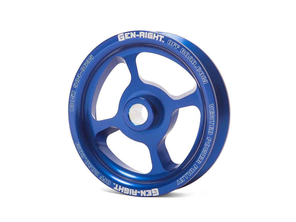 GenRight Vented Power Steering Pulley - Blue