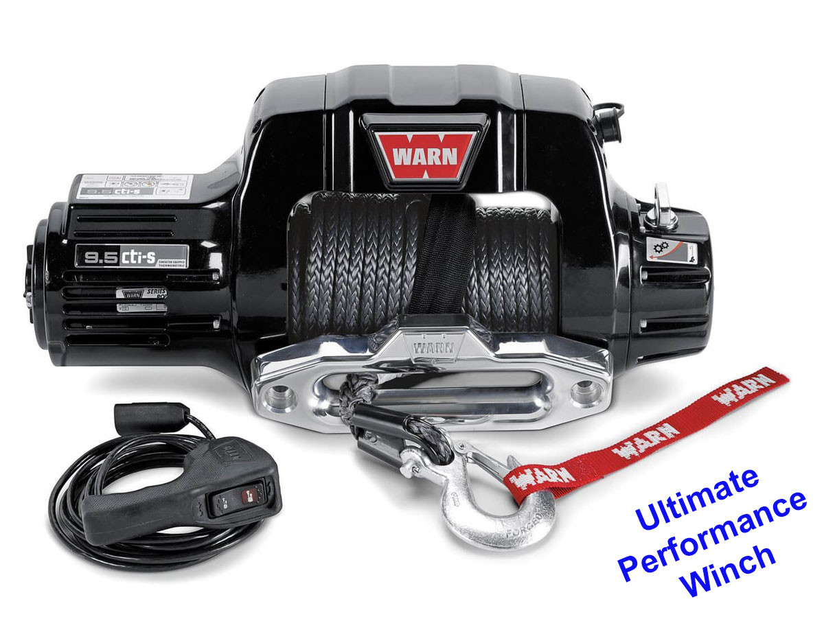 Warn 9.5 cti-S winch with synthetic rope and aluminum fairlead