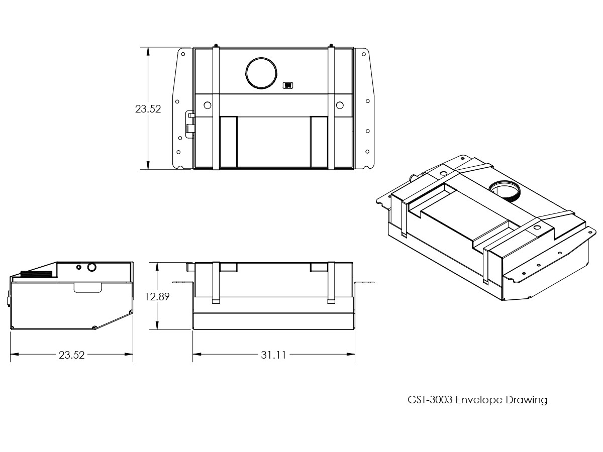 line drawing and dimensions for genright off road xj extended range gas  tank & skid plate