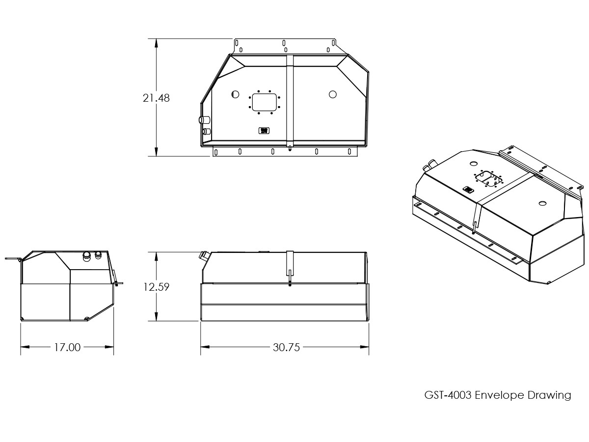 Basic dimensions for the GST-4003 GenRight Jeep YJ gas tank, Enduro fuel tank and skid