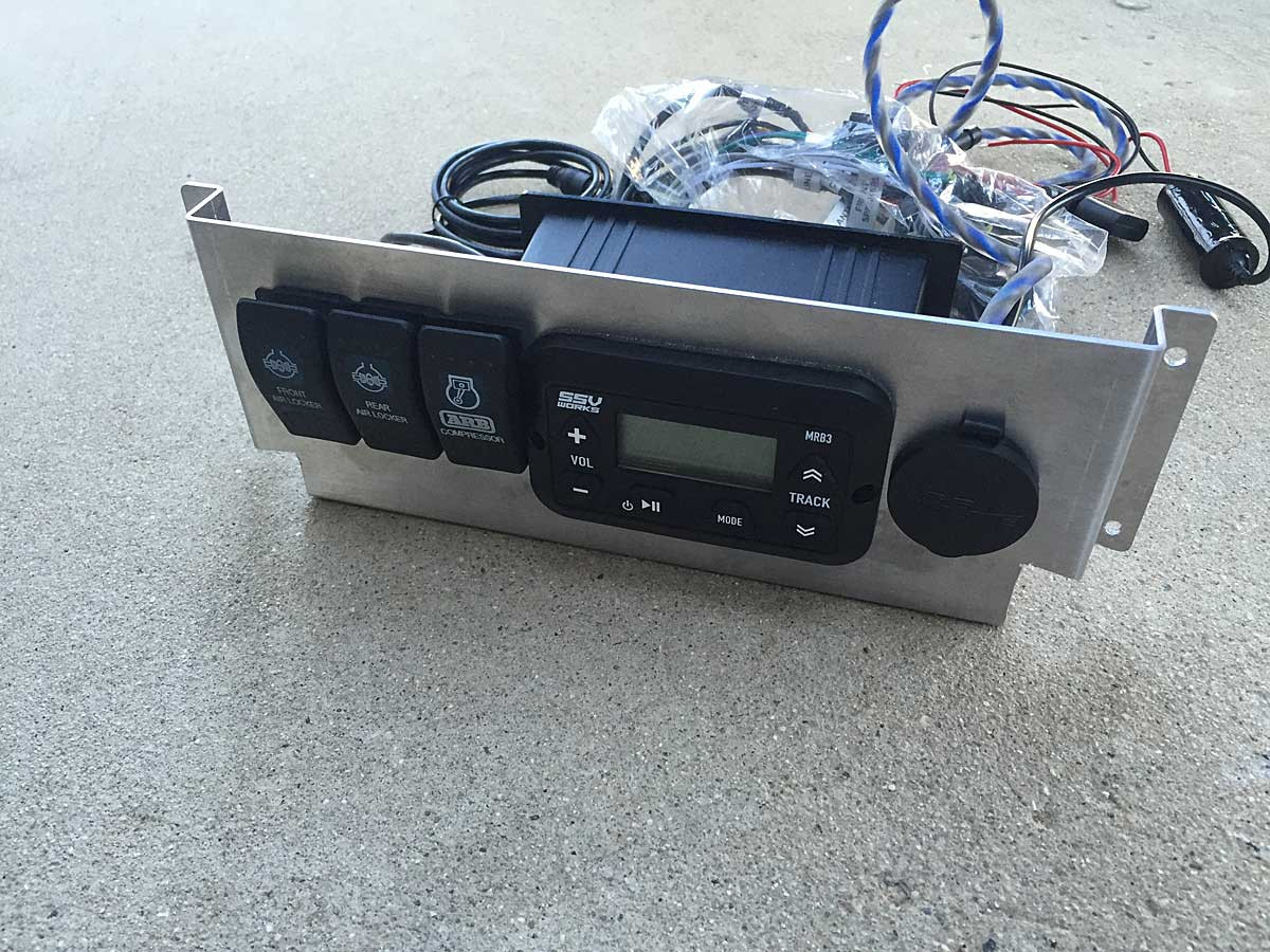 Blue Tooth stereo unit mounted on aluminum radio plate