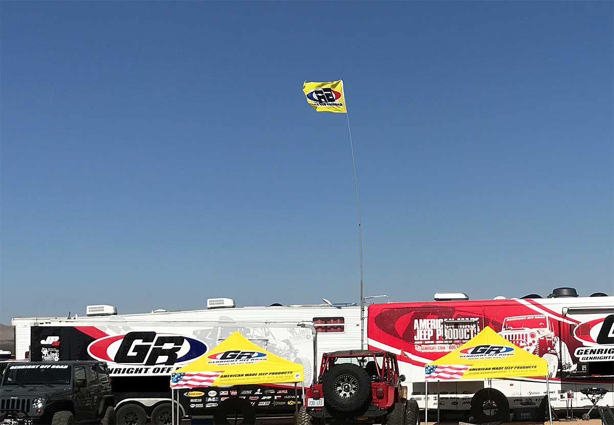 GenRight Official 3'x5' Flag being flown off the RV