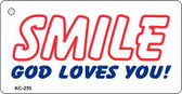 Smile God Loves You Mini License Plate Metal Novelty Key Chain