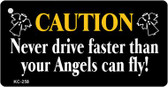 Caution Angel Mini License Plate Metal Novelty Key Chain