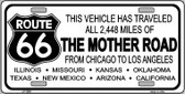 Route 66 Mother Road Novelty Wholesale Metal License Plate