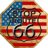 Route 66 American Flag Vintage Wholesale Metal Novelty Stop Sign