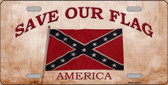 Save Our Flag Confederate Novelty Wholesale Metal License Plate