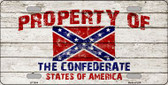 Property Of Confederate States Novelty Wholesale Metal License Plate