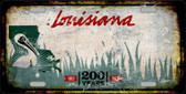 Louisiana Background Rusty Novelty Wholesale Metal License Plate