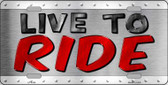 Live To Ride Wholesale Metal Novelty License Plate