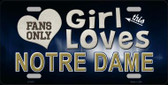 This Girl Loves Notre Dame Novelty Wholesale Metal License Plate