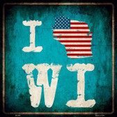 I Love Wisconsin Wholesale Novelty Metal Square Sign