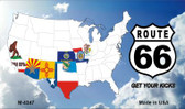 Route 66 Eight Flags With Clouds Wholesale Novelty Metal Magnet