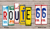 Route 66 Wood License Plate Art Wholesale Novelty Metal Magnet
