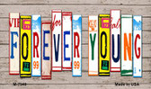 Forever Young Wood License Plate Art Wholesale Novelty Metal Magnet