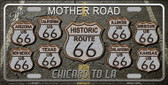 Route 66 Black Top Wholesale Metal Novelty License Plate