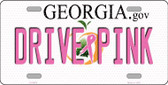 Drive Pink Georgia Novelty Wholesale Metal License Plate