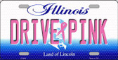 Drive Pink Illinois Novelty Wholesale Metal License Plate