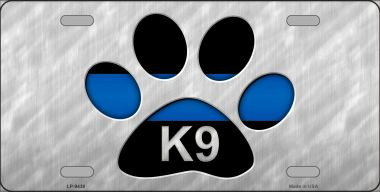 Thin Blue Line Paw K-9 Wholesale Metal Novelty License Plate