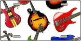 Guitars White Background Wholesale Metal Novelty License Plate LP-2315
