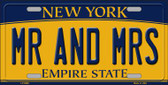 MR and MRS New York Background Wholesale Metal Novelty License Plate