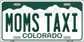 Moms Taxi Colorado Background Wholesale Metal Novelty License Plate