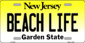 Beach Life New Jersey Background Wholesale Metal Novelty License Plate
