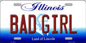 Bad Girl Illinois Background Wholesale Metal Novelty License Plate