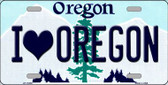I Love Oregon Background Wholesale Metal Novelty License Plate