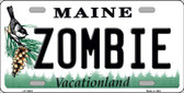 Zombie Maine Background Wholesale Metal Novelty License Plate