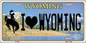 I Love Wyoming Background Wholesale Metal Novelty License Plate