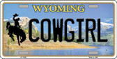 Cowgirl Wyoming Background Wholesale Metal Novelty License Plate