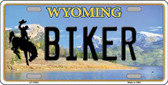 Biker Wyoming Background Wholesale Metal Novelty License Plate