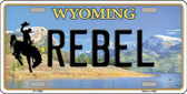 Rebel Wyoming Background Wholesale Metal Novelty License Plate