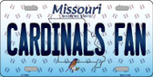 Cardinals Fan Missouri Background Novelty Wholesale Metal License Plate