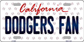 Dodgers Fan California Background Novelty Wholesale Metal License Plate