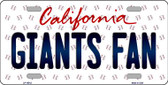 Giants Fan California Background Novelty Wholesale Metal License Plate