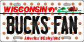 Bucks Fan Wisconsin Background Novelty Wholesale Metal License Plate