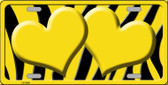 Yellow Black Zebra Yellow Centered Hearts Wholesale Novelty License Plate LP-2436