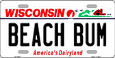 Beach Bum Wisconsin Background Wholesale Metal Novelty License Plate