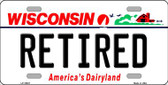 Retired Wisconsin Background Wholesale Metal Novelty License Plate
