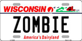 Zombie Wisconsin Background Wholesale Metal Novelty License Plate