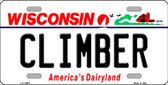 Climber Wisconsin Background Wholesale Metal Novelty License Plate