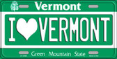 I Love Vermont Background Wholesale Metal Novelty License Plate