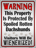 Protected By Dachshund Wholesale Metal Novelty Parking Sign