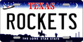Rockets Texas Novelty State Background Wholesale Metal License Plate LP-2572