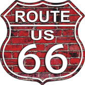 Route 66 Red Brick Wall Wholesale Highway Shield Novelty Metal Magnet