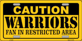 Caution Warriors Fan Wholesale Metal Novelty License Plate LP-2601
